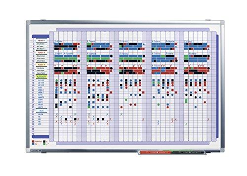 Preisvergleich Produktbild Legamaster 7-410800 Premium Plus Mehrzweckplaner, Whiteboard bedruckt mit Wochenübersicht mit 40 Zeilen, emailliert, 90 x 60 cm
