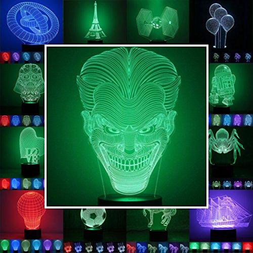 3D Lampe 3D Leuchte 3D LED Stimmungslicht. 7 Farben - Auswahl aus 81 verschiedenen Motiven,hier Joker ca.24x14cm inkl.Sockel - 3D Illusion Dekolicht mit USB Anschluß und 220V USB Netzteil