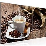 Bilder Küche Kaffee Wandbild 200 x 80 cm Vlies - Leinwand Bild XXL Format Wandbilder Wohnzimmer Wohnung Deko Kunstdrucke Braun 5 Teilig - MADE IN GERMANY - Fertig zum Aufhängen 501855a