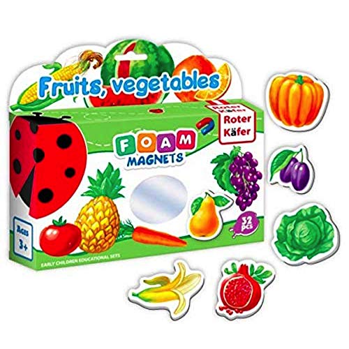 Kühlschrankmagnete Kinder FRÜCHTE & VEGGIES 32 Stück - Spielzeug 2 jährige - lernspielzeug ab 2 jahren - Spielzeug für Mädchen und Jungen - Spielzeug obst - Spielzeug obst gemüse