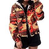 Damen Übergangsjacke Ladies Basic Kapuze Camouflage Jacken Mantel Leicht Sport Jacken Sweatjacke Zip Hoodie, leichte Streetwear Schlupfjacke, Windbreaker Überziehjacke für Frühjahr und Herbst