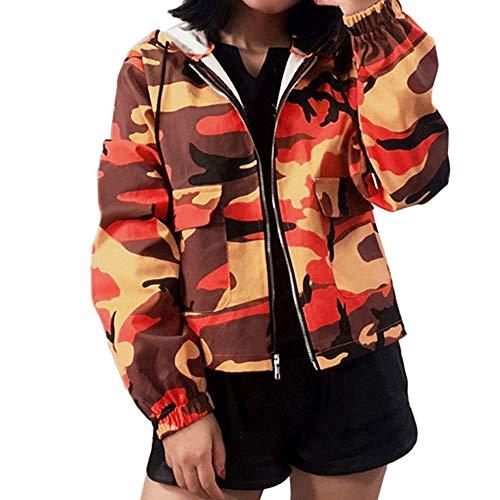 Damen Übergangsjacke Ladies Basic Kapuze Camouflage Jacken Mantel Leicht Sport Jacken Sweatjacke Zip Hoodie, leichte Streetwear Schlupfjacke, Windbreaker Überziehjacke für Frühjahr und Herbst -