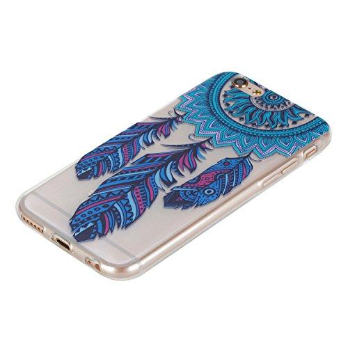 Qiaogle Téléphone Coque - Soft TPU Silicone Housse Coque Etui Case Cover pour Apple iPhone 5 / 5G / 5S / 5SE (4.0 Pouce) - HX39 / Couple mouse HX22 / Bleu Dreamcatcher