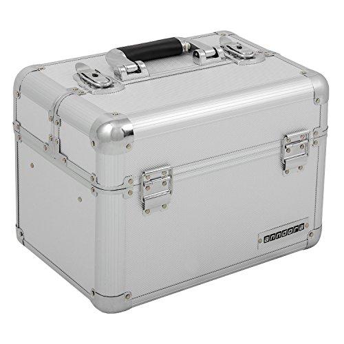 Beauty Case Silber (Kosmetikkoffer XL Aluminium-Rahmenkoffer Multikoffer Beauty Case für Nagelstudio - Nail Systems in Silber - 800012)