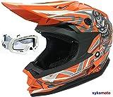 3GO X10-K RAGAZZI E RAGAZZE MOTOCROSS QUAD ATV BAMBINO OFF-ROAD MOTO DA CORSA CASCHI ENDURO OMOLOGATO CASCO ARANCIONE E OCCHIALI BIANCO (XL (53-54 CM))