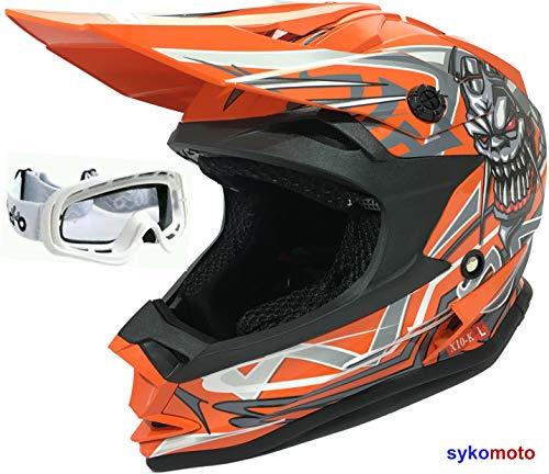 3GO X10-K RAGAZZI E RAGAZZE MOTOCROSS QUAD ATV BAMBINO OFF-ROAD MOTO DA CORSA CASCHI ENDURO OMOLOGATO CASCO ARANCIONE E OCCHIALI BIANCO (L (51-52 CM))