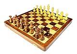StonKraft handgefertigtes, hochwertiges Holz Schachspiel 46 x 46 cm aus Palisander mit Extra Queen