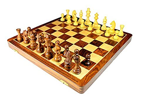 Stonkraft Handmade Premium wood 46 x 46 cm Chess Set - Rosewood Foldable Magnetic Set with Storage