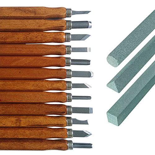 Holz-Schnitzwerkzeug Set für Profis und Anfänger | 12 tlg. + 3 Schleifsteine + Tasche | von Hawerk