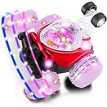 Coche RC Recargable Stunt Rodante, YKS Camión radio control teledirigido 6 ruedas giro de 360 grados rodar con LED luz de color Flash y música perfecto regalo para niños, rojo
