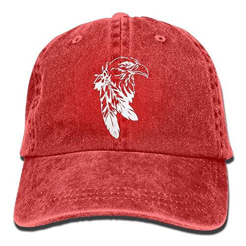 Hoklcvd unisex baseball cap yarn-dyed denim hat indian eagle tattoo adjustable snapback topee comfortable 9488