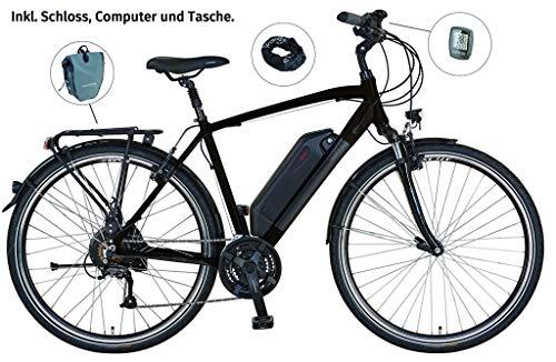 Prophete E-Bike Alu-Trekking ENTDECKER e8.6 | Herren | 28 Zoll | Hinterradmotor | 36 V | Anfahrhilfe | 250 W | ca. 100 km | 24-Gang Shimano Altus Kettenschaltung | Rahmenhöhe 52 cm | Dunkelbraun matt