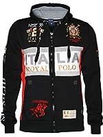 GEOGRAPHICAL NORWAY Herren Kapuzen Hoodie Sweatshirt Track Jacke *Milano Royal* in Schwarz WK408 + JOLIE Magazin Gratis