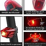 LIFEBEE Fahrrad Rücklicht Fahrradlicht, StVZO Zugelassen USB Wiederaufladbare LED Rücklicht, Fahrradlampe, IPX4 Wasserdicht 3 Licht-Modi Atemart für Radfahren, Wandern, Laufen, Walking, Camping