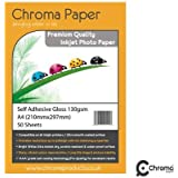 Chroma - A4 Fully Self-Adhesive High Gloss Inkjet Photo Paper - Premium Grade 130gsm (50 Sheets)