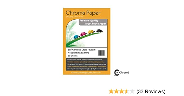 Chroma A4 Matte Self Adhesive Sticky Sticker Inkjet Photo Paper 120gsm 25 Pack