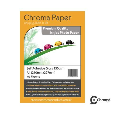 Chroma-A4 entièrement auto-adhésif High Gloss Papier Photo pour impression jet