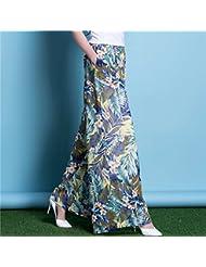 Pantalones del verano mujeres vara flojamente más tamaño de los pantalones de cintura alta de la gasa pantalones de la falda ancha Piernas Pantalones, G, S