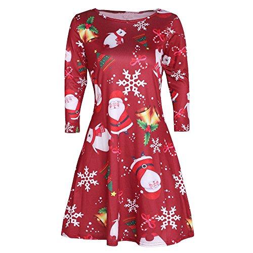 ODJOY-FAN Frau Rot Schneeflocke Minikleid,Weihnachten Weihnachtsmann Gedruckt Kleid Damen...