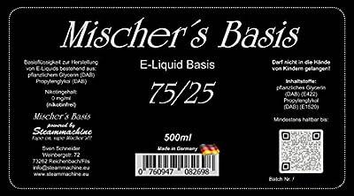 Steammachine Mischer´s Basis 500 ml ohne Nikotin (verschiedene Mischungen) von Steammachine