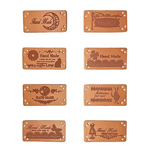 Jurxy 40PCS PU-Leder Label Annähen Etiketten Lederetikett Tag mit Löchern Verschönerung Stricken DIY Zubehör für Jeans Taschen Schuhe Mütze - 2 x 4 cm (Nähen Sie Aus Von Etiketten)