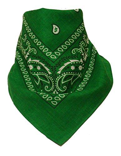 Original Bandana mit Paisley Muster in Grün 100% Baumwolle