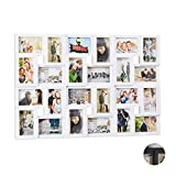 Relaxdays pêle-mêle 24 Photos Galerie Mur Cadre Mural 9x13 Collage Vertical Horizontal Hxl 57x86 cm, Blanc, PP, PVC, Carton, 57 x 86 x 3 cm