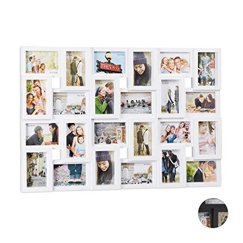 Relaxdays XXL Bilderrahmen Collagen, für 24 Bilder in 9 x 13, Hoch-oder Querformat, Kunststoff, HxB 57 x 86 cm, weiß - 13 10 Von Foto-bild