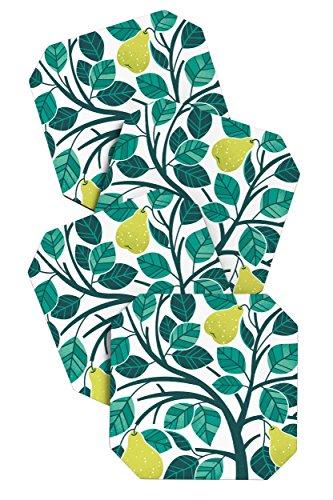 DENY Designs Lucie Reis Pear Tree Untersetzer, 4Stück -