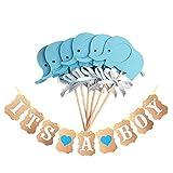 Hemore Cupcake Topper 10 Stücke Blau Elephant Kuchen Topper mit 1 Stück Banner für Babyboy Shower Party Kuchen Toppers