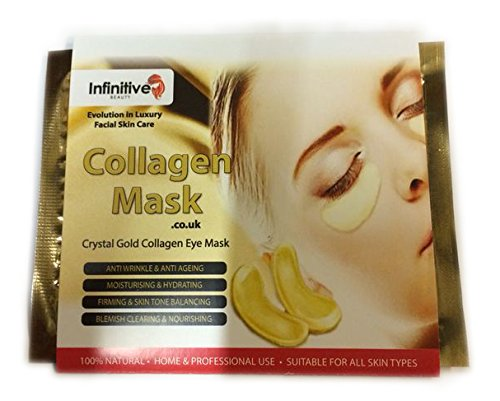 Infinitive Beauty - 10 x Pack New Crystal 24K Gold Powder Gel Collagen Eye Mask Masks Sheet Patch, Anti Ageing Aging, Remove Bags, Dark Circles & Puffiness, Skincare, Anti Wrinkle, Moisturising, Moisture, Hydrating, Uplifting, Whitening, Remove Blemishes