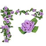 Künstlich Rose Blatt Efeu Girlande Blumen Dekoration (Hell Lila)