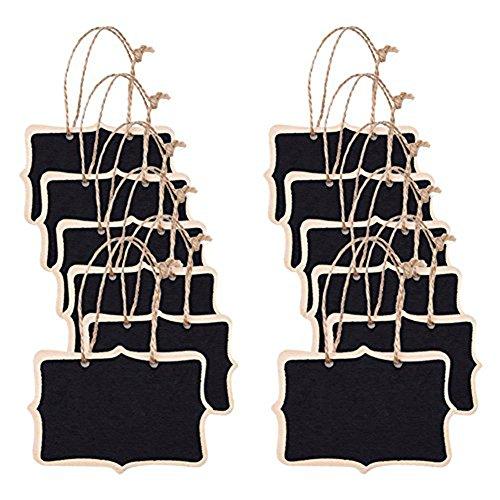 Hosaire 12X Mini Pollici Nero Stile Vintage Lavagna con Iuta Hanging String per Segni di Nozze, Cucina e Parete Arredamento, 12