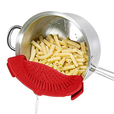 SNAP'N STRAIN Strainer ,DHong The Best Clip-on Silicone Pasta Strainer - Dishwasher Safe Colander Perfect For Draining Pasta, Vegetables, Potatoes, etc