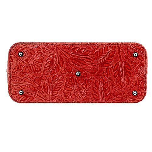 Tuscany Leather Gaia Shopper Tasche aus Leder mit Blumenmuster Grey Lipstick Rot