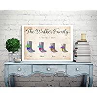 Personalised Family Print Picture Tree Christmas Mothers Day Present Gift Mum Wellington Boots Wellies P151