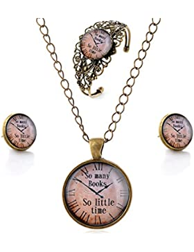 lureme® Zeit Gem Series Einfach Jahrgang Stil Pendant Halskette Stud Ohrringe Armreif Schmuck-Sets(SET004)