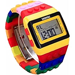 Oyedens Unisex Colorful Rainbow Strap Digital Wrist Watch for Women Men Kids