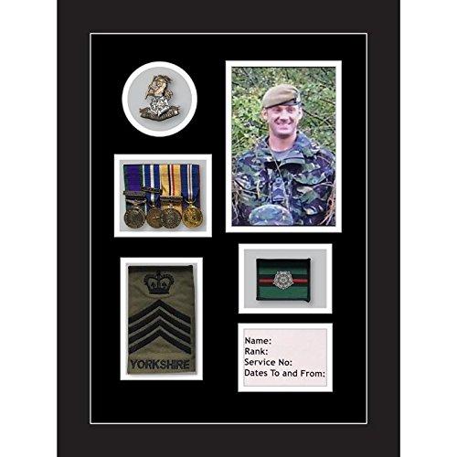 Kwik Picture Framing Ltd Yorkshire Regiment Medal Frame, Cap Badge and war Medal Display Frame Black Mount - Black Frame