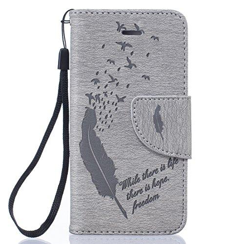 Nancen Apple iphone 5 / 5S / SE (4,0 Zoll) Ledertasche Flip Case / Handyhülle, Federn und Vögel Muster Bookstyle Design Cover/Etui/Handy Zubehör Schutzhülle mit Standfunktion, Brieftasche und Karte Ta Grau