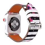 Gimartuk 38mm 42mm Floral Strap für Apple Watch, Mikrofaser Leder Ersatz Armbanduhr Band Armband für Apple Watch iWatch Serie 3/2/1, damen, WF-390, schwarze Streifen, 42mm