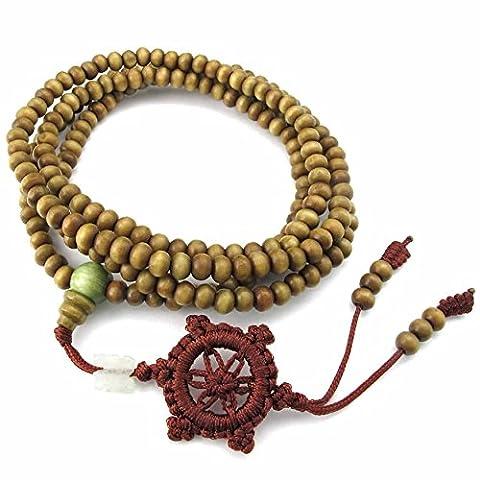 AnaZoz Homme Femme Bracelet en Bois Chaîne Lien Marron 5MM Tibet Prière Perles Bouddhiste Necklace