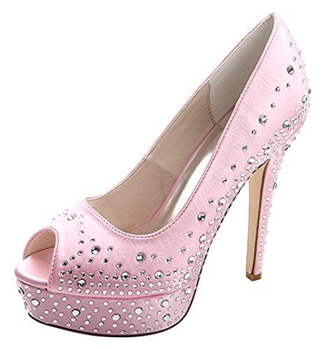ZHENGXF Chaussure de mariage femme Escarpin sexy Chaussure de talon Rose