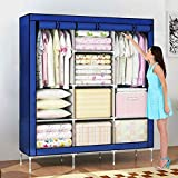 #10: House of Quirk 66inch Portable Wardrobe stainless steel Cloth Closet Organizer Storage with Cover and Clothes Rods Durable Sturdy shelves(Blue)