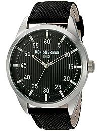 Ben Sherman Men's Quartz Watch with Black Dial Analogue Display and Black Leather Strap WB028B