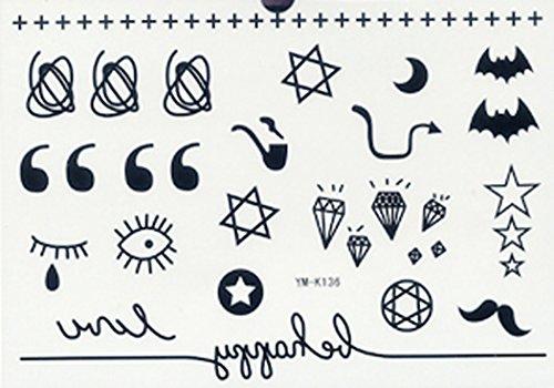 (GRASHINE wasserdichte ungiftig endlich gefälschte und realistische temporäre Tattoos Sticker Sterne, Monde, Diamanten, Augen, Fledermäuse, Bärte, Rohr)