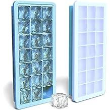 Bac à Glaçons en Silicone pour 21 Cubes avec Couvercle étanche - Moules à plateau de glace de qualité alimentaire FDA - Utilisation pour les enfants avec Pudding aux bonbons Gelée Lait jus Chocolat Moule Ou des cocktails & Whisky Particules (Bleu)