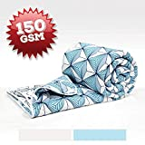 Divine Casa Imperial Geometric Polyester Single Comforter - Light Blue and White