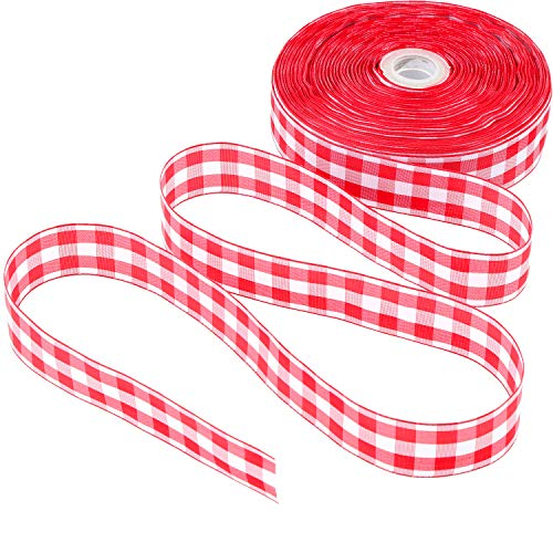 50 Yards Gingham Band Breites Band TAFT Plaid Ribbon (Farbe 3, 1 Zoll Breit) (3-zoll-breites Band)