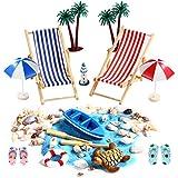 Miniatur Dekoration, 16 Pcs Strand-Mikrolandschaft für Geburtstagsgeschenk, Sonnenschirmen,...